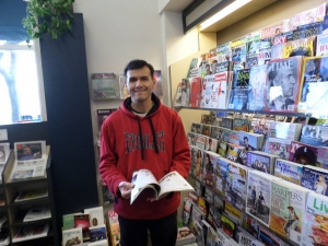 Jose spent some time looking at magazines at a book store in downtown Mountain View.